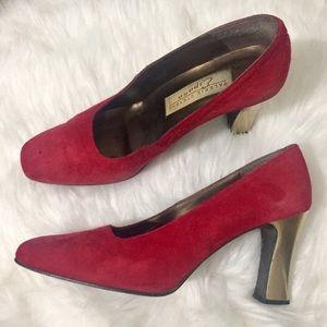Valerie Stevens Suede Pumps, Red Chunky Gold Heels